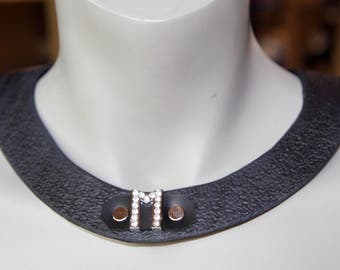 Custom personalized all leather necklace collar Monogram (5 letters max) choker