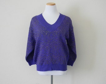 FREE usa SHIPPING Vintage ladies knit purple sweater metallic yarn v neck thick kit baggy sweater hipster acrylic lurex nylon wool size L