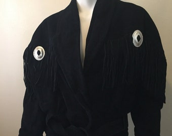 Vintage suede fringe jacket bohemian gypsy traveller cowgirl chic black size M love!