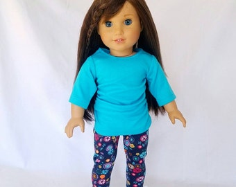 18 inch spring outfits, turquoise ruched top with navy floral leggings, 18 inch doll clothes, American made, girl doll, trendy outfits