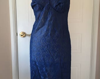 Navy and gold upcycled vintage slip size 14