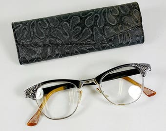 Vintage ARTCRAFT Cats Eye Glasses / 1950s Cat Eyeglasses / Aluminum Gold-Filled / Floral Design/ with case