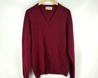 Burgundy Cashmere Sweater, Pringle of Scotland,  Vintage V Neck, Size 46 Small / Medium