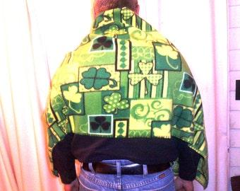 Irish Shamrock Shawl Fleece Scarf Wrap St Patrick day
