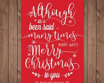 Christmas Card | Merry Christmas | Many times many ways | Christmas Carol |  Whimsical Christmas Card