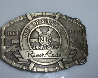12217ST01 Vintage Belt Buckle 1964-83 Sioux City RIVER CADE #287 of 500 Ltd Ed Numbered