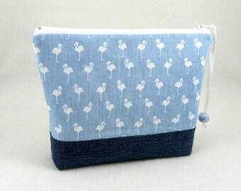 Makeup bag, cotton toiletry bag, cosmetic pouch,  handmade zipper pouch, blue makeup case, white flamingo pouch