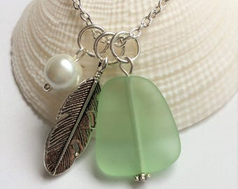 Peridot Green Sea Glass Necklace, Charm necklace, Pearl, Feather Necklace, bridesmaid necklace, beach wedding. FREE SHIPPING within the U.S.