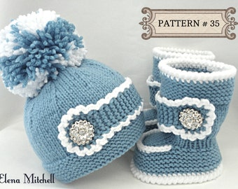 Knitting Pattern For Baby Boy Shoes : Knitting PATTERN Baby Shoes Baby Booties Baby Hat Baby Beanie