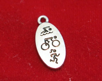"""5pc """"triathlon"""" charms in antique silver style (BC1159)"""