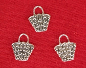 "10pc ""handbag"" charms in antique silver style (BC1215)"