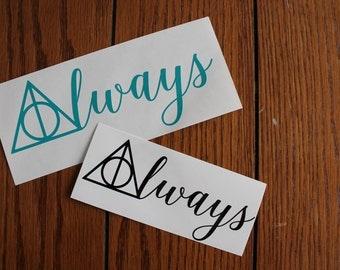 Harry Potter Always Deathly Hallows Sticker Vinyl Decal, Car decal