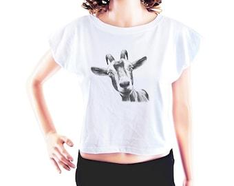 Goat head shirt goat tee women graphic shirt hipster funny shirt teen shirt quote tshirt tumblr top women tshirt crop top crop tee size S