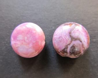 2 buttons Agate pink crazy 14x6mm