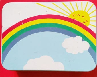 Vintage Rainbow Tin Box