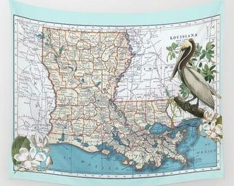 Louisiana State map Fleece Blanket throw - cozy, sofa, couch, bed, travel decor, soft,  winter, warm, Pelican, Magnolia,  beach blanket