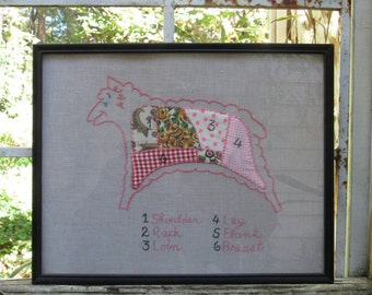 Vintage Embroidery Framed Lamb Sheep Cottage Chic