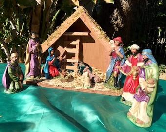 Ceramic nativity set,3 wise men,baby Jesus,Mary,Joseph, Angel, animals, 110 pc, Christian figurines,wood structure