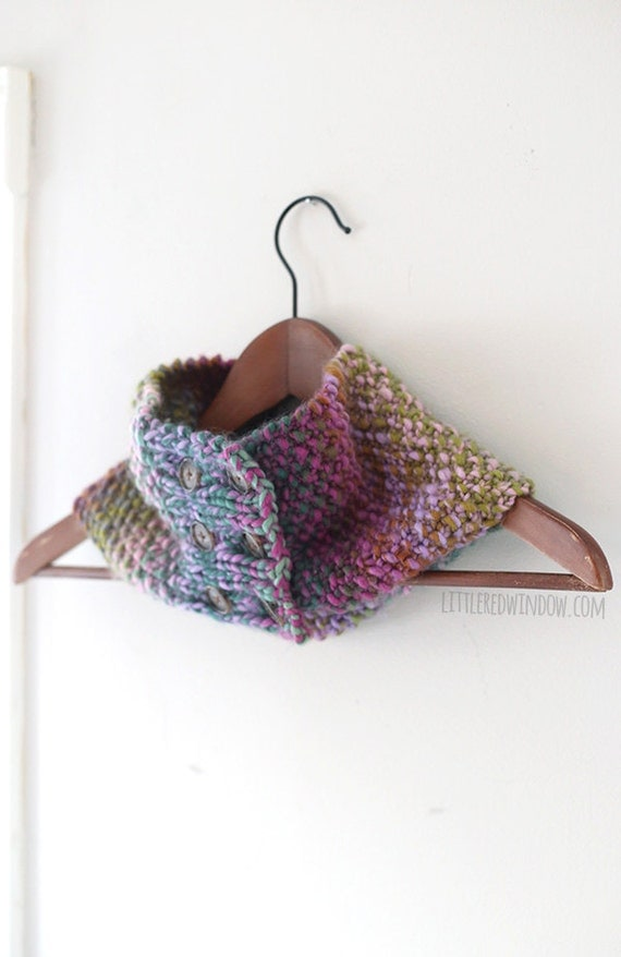 Buttoned Up Cowl Infinity Scarf KNITTING PATTERN - knit scarf pattern for teenagers, adults