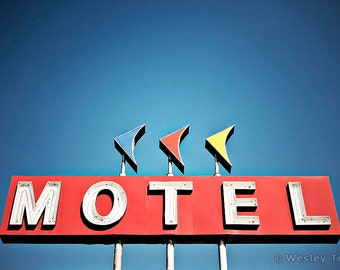 Motel Boomerangs - Roadside Neon Motel Sign Photograph