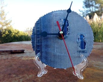 CD clock, table clock, art Clock, clock Cd, Cd, Jeans, elegant wall clock with hook supplied