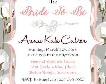 PRINTABLE 5x7 Cotton Bridal Shower Invitation