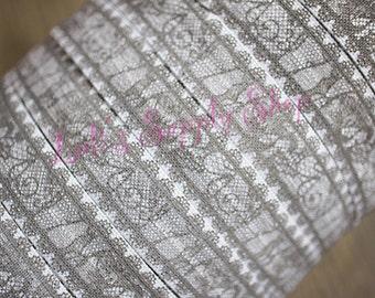 Gray & White Lace Print 5/8 Fold Over Elastic - FOE - Lace Print Foldover Elastic - Elastic by the yard - Shiny Elastic - DIY - Headband