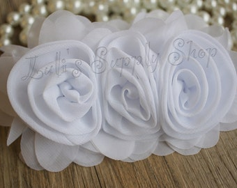 "3"" White Chiffon Ruffle Flowers - White Fabric Roses - Large Fabric Flower - Wholesale Chiffon Flower - Fabric Flower - Headband Supplies"