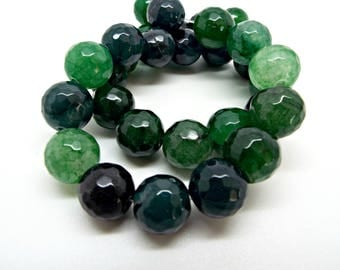 Green Jade Rounds, 12mm Jade Beads, Malaysia Jade, Multi Green Beads, Faceted Rounds, 15 Inch Strand, C Grade, Green Gemstone, UK Seller