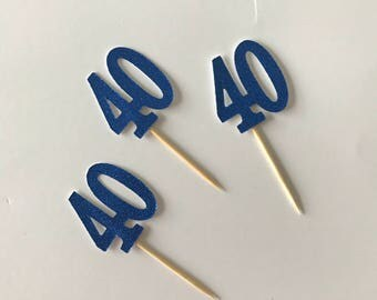 40 Cupcake Toppers / BLUE Glitter 40 cup cake toppers, 40th Birthday Party cake topper decorations x 12
