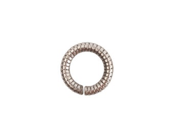 Jump Ring - 6mm Textured - Antique Silver (plated) - ONE
