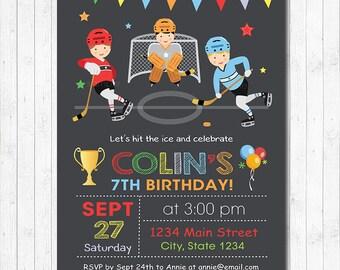 Hockey Boys Birthday Invitation, Hockey Invite, Hockey Birthday, Hockey Party, Chalkboard, Printable