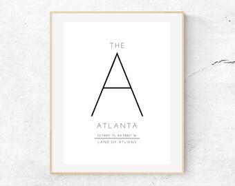 ATLANTA - The A - Land of ATLiens - Local City Atlanta, Ga Art Print -  // DIGITAL DOWNLOAD