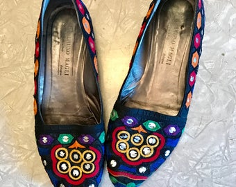 Vintage 80s MIRRORED Flats