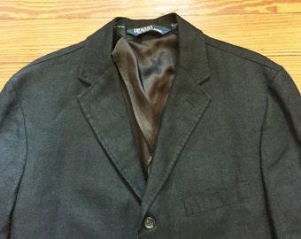 Newer Vintage Polo Ralph Lauren Black Linen Sport Coat Blazer Large