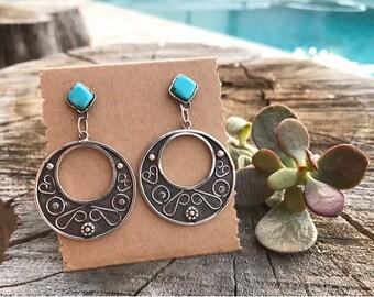 Dangle earrings, sterling silver earrings, turquoise dangle earrings, turquoise and sterling silver dangle earrings, big earrings