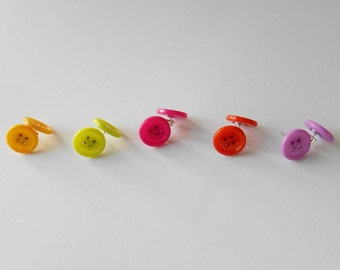 Bright Button Earrings, Fun Buttons, Quirky Gifts for Girls,  Original Jewellery, Bright Coloured Accessory