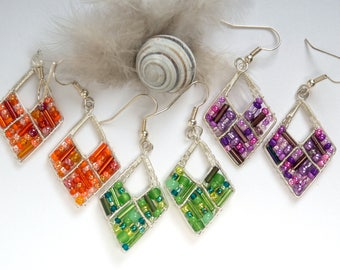 green seed bead earrings,orange wire jewelry,purple trendy earrings,delicate jewelry,summer jewelry,geometric jewelry,rhombus earrings