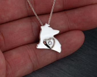 Sheltie , Shetland sheepdog Handcrafted sterling silver necklace