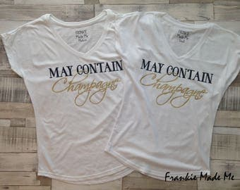 May Contain Champagne Ladies Cap Sleeve Vneck