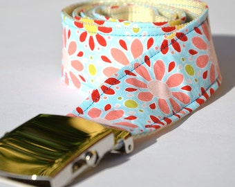 Fabric - belt blue with pink flowers