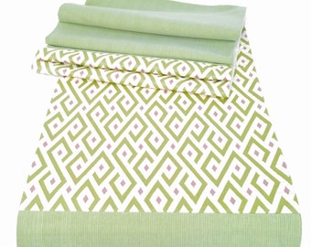 LongTable Runner Beautiful Apple Green , Contemporary Pattern, Green and Purple Geometric Table Runner FREE SHIPPING TR-9-101