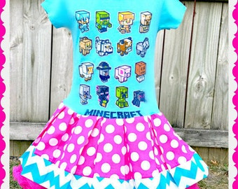 girls Minecraft dress creeper 4/5 6/6x 14/16 ready to ship