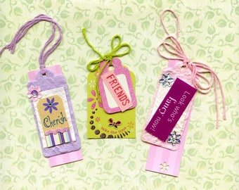 3 HAND MADE GIFT Tags; assorted, for birthday, wedding, shower gifts,sparkle, bling, sequins, colored floss, punches, layered