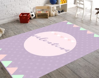Nursery Rug, Custom Rug, Custom Nursery Decor, Bunting Nursery, Purple Nursery Decor, Purple Nursery, Baby Girl Nursery, Circus Nursery