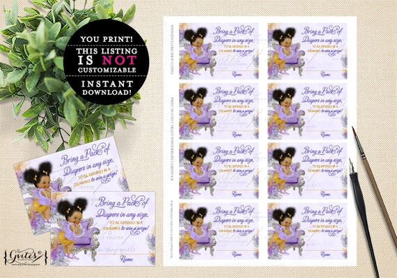 "Diaper raffle tickets, lavender gold purple & silver, ethnic baby girl, raffle ticket games. PRINTABLE Instant Download 3.5x2.5"" 8/Sheet."