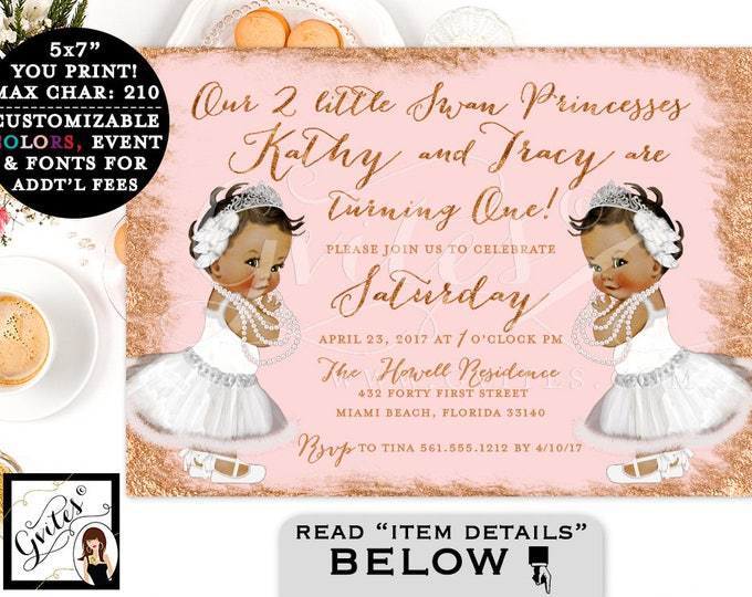 Rose Gold Baby Twins Birthday Invitation, Swan FIRST BIRTHDAY invitation, African American, gold pink twins 1st bday invite. PRINTABLE.