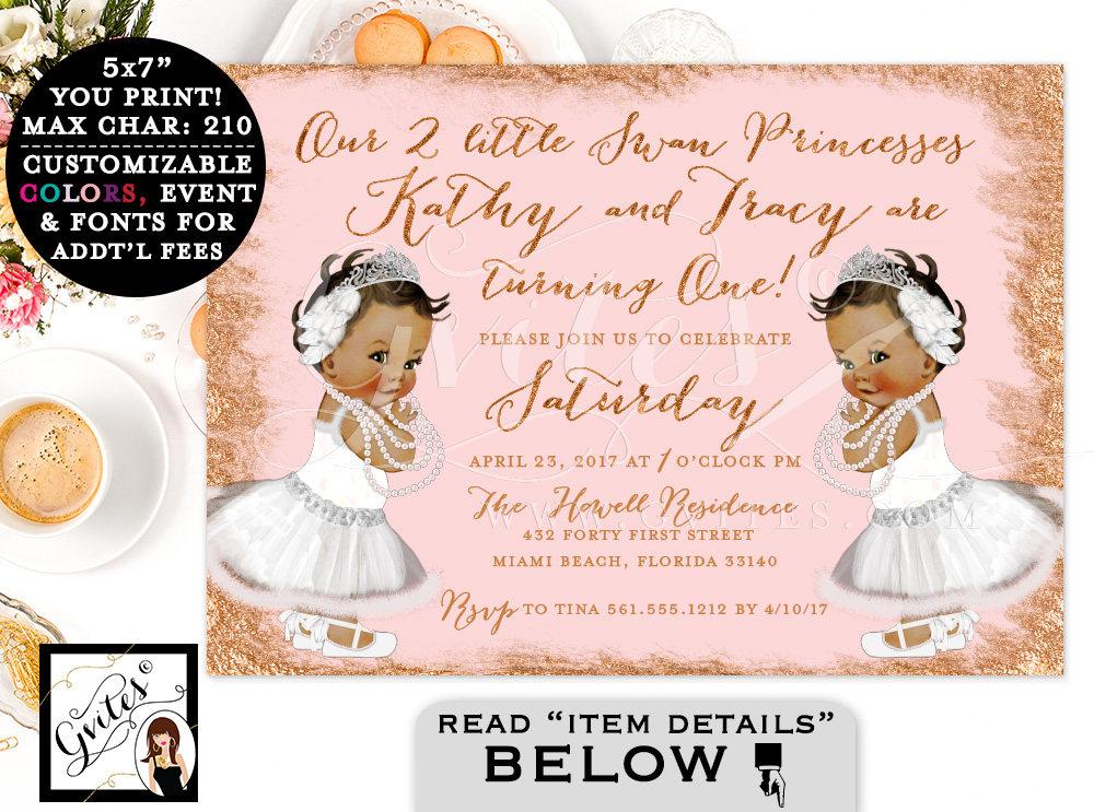 Rose Gold Baby Twins Birthday Invitation Swan FIRST BIRTHDAY – African American Birthday Invitations