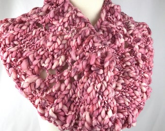 Cowl // bandana // Pink // white // acrylic // wool // handknit // neckwarmer // chunky // bobble // thick and thin // scarf