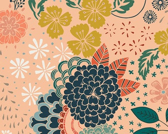 """Roses/Flowers with Light Peach Background- Quilting 100% Cotton Fabric 45"""" wide [[fat quarter/half yard/by the yard]]"""